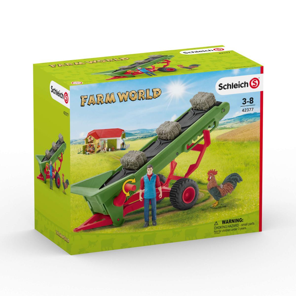 Kleinkindspielzeug Spielset Heuförderband mit BauerSchleich 42377Bauernhof Spielzeug ab 3 J.
