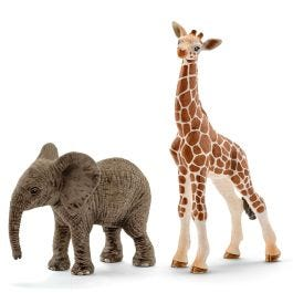 African elephant calf and giraffe calf