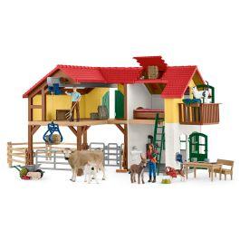 Bondegårdshus med stald og dyr